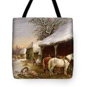 Farmyard in Winter  Tote Bag by Henry Woollett