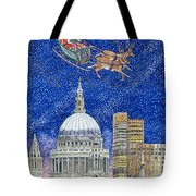 Father Christmas Flying Over London Tote Bag by Catherine Bradbury