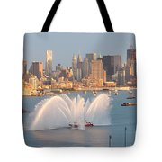 Fire Boat And Manhattan Skyline Iv Tote Bag by Clarence Holmes
