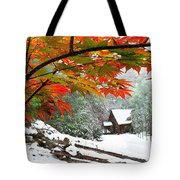 Fire Fog And Snowy Fence Tote Bag by Debra and Dave Vanderlaan