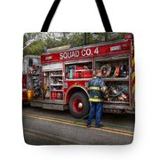 Firemen - The Modern Fire Truck Tote Bag by Mike Savad