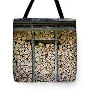 Firewood stack Tote Bag by Frank Tschakert