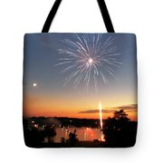 Fireworks and Sunset Tote Bag by Amber Flowers