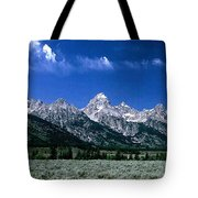 First View Of Tetons Tote Bag by Kathy McClure