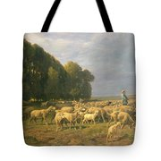 Flock Of Sheep In A Landscape Tote Bag by Charles Emile Jacque