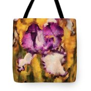 Flower - Iris - Diafragma Violeta Tote Bag by Mike Savad