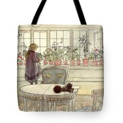 Flowers On The Windowsill Tote Bag by Carl Larsson