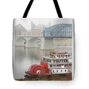 Foggy Chattanooga Tote Bag by Tom and Pat Cory