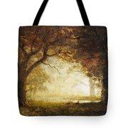 Forest Sunrise Tote Bag by Albert Bierstadt