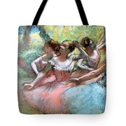 Four ballerinas on the stage Tote Bag by Edgar Degas