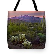 Four Peaks Sunset Tote Bag by Dave Dilli