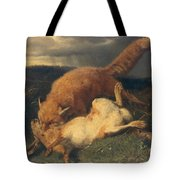 Fox And Hare Tote Bag by Johann Baptist Hofner