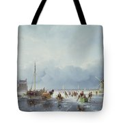 Frozen Winter Scene Tote Bag by Andreas Schelfhout