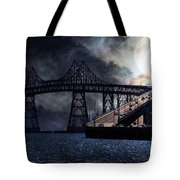 Full Moon Surreal Night At The Bay Area Richmond-San Rafael Bridge - 5D18440 Tote Bag by Wingsdomain Art and Photography