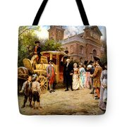 George Washington Arriving At Christ Church Tote Bag by War Is Hell Store