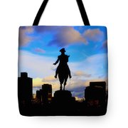 George Washington Statue Sunset - Boston Tote Bag by Joann Vitali