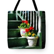 Geraniums And Pansies On Steps Tote Bag by Susan Savad