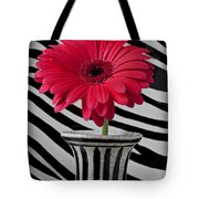 Gerbera Daisy In Striped Vase Tote Bag by Garry Gay