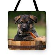 German Shepherd Puppy In Planter Tote Bag by Sandy Keeton