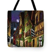 Germany Ulm Old Street Night Moon Tote Bag by Yuriy  Shevchuk