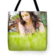 Girl Reading Book Tote Bag by Jorgo Photography - Wall Art Gallery