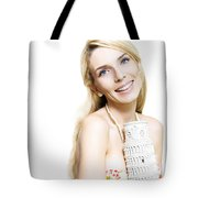 Girl Reminiscing A Trip To Europe With A Memento Tote Bag by Jorgo Photography - Wall Art Gallery