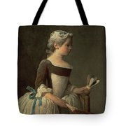 Girl With Racket And Shuttlecock Tote Bag by Jean-Baptiste Simeon Chardin