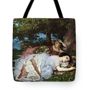 Girls On The Banks Of The Seine Tote Bag by Gustave Courbet