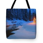 Glowing Christmas Tree By Mountain Tote Bag by Carson Ganci
