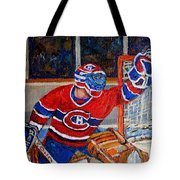 Goalie Makes The Save Stanley Cup Playoffs Tote Bag by Carole Spandau