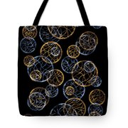 Gold And Blue Abstract Circles Tote Bag by Frank Tschakert