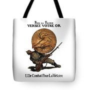 Gold Fights For Victory Tote Bag by War Is Hell Store