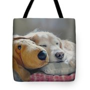 Golden Retriever Dog Sleeping With My Friend Tote Bag by Jennie Marie Schell
