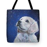 Golden Retriever Pup In Snow Tote Bag by Lee Ann Shepard