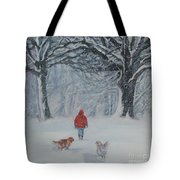 Golden Retriever winter walk Tote Bag by Lee Ann Shepard