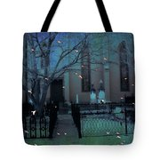 Gothic Surreal Ravens Crows Cemetery Landscape Tote Bag by Kathy Fornal