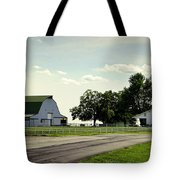 Green And White Farm Tote Bag by Cricket Hackmann