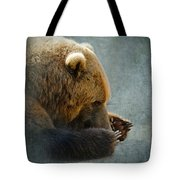 Grizzly Bear Lying Down Tote Bag by Betty LaRue