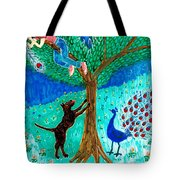 Guard Dog And Guard Peacock  Tote Bag by Sushila Burgess
