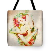Guitar Lovers Embrace Tote Bag by Nikki Smith