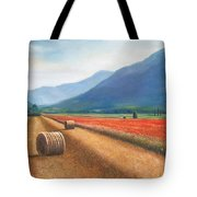 Haybales In Italy Tote Bag by Ann  Cockerill