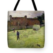 Haymaking In Brittany Tote Bag by Paul Gauguin