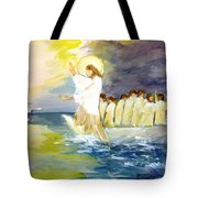 He Calms The Waters Tote Bag by Mary Spyridon Thompson