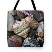 Heart Stone With Wild Flower Tote Bag by Garry Gay