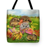 Hedgehogs Inside Scarf Tote Bag by EB Watts