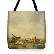 Herdsman And Herd Tote Bag by Eugene Joseph Verboeckhoven