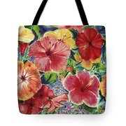 Hibiscus Impressions Tote Bag by Patti Bruce - Printscapes