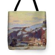 Hillside At Croisset Under Snow Tote Bag by Joseph Delattre