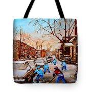 HOCKEY GAMEON JEANNE MANCE STREET MONTREAL Tote Bag by CAROLE SPANDAU