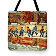 Hockey Rinks In Montreal Tote Bag by Carole Spandau